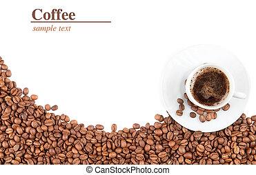 taza, y, granos de café
