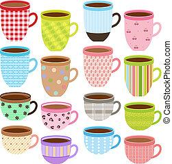 taza, y, jarra, en, color pastel