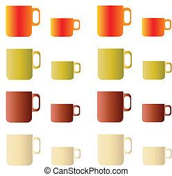 tazas, café de té, conjunto