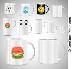 tazas, café de té, vector, jarras