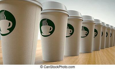 tazas, café, papel, fila