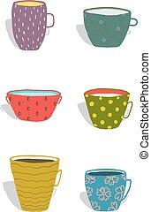 tazas, cerámica, conjunto, jarras, colorido, diversión
