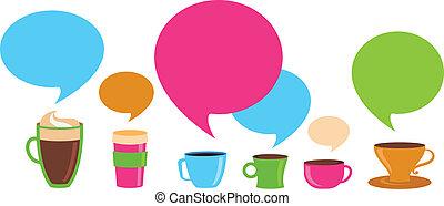 tazas de café, con, discurso, burbujas