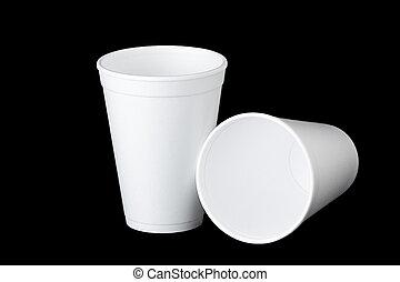 tazas, negro, dos, styrofoam