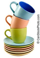 tazas, y, platos