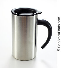 tazza, bianco, alluminio, isolato