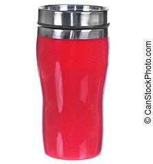 tazza, bianco, isolato, alluminio, rosso