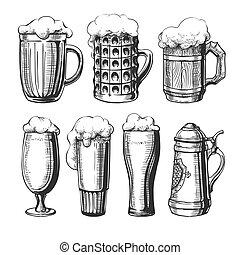 tazza birra bicchiere, schizzo