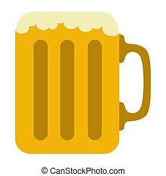 tazza, birra, isolato, fondo, bianco