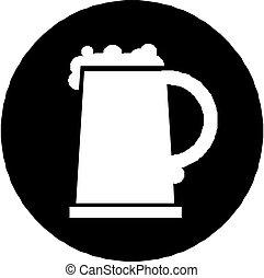 tazza, birra, isolato, icona, bianco