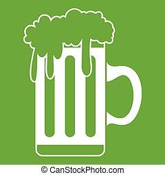 tazza, birra verde, icona
