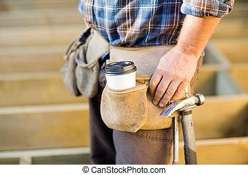 tazza caffè, attrezzo, disponibile, carpenter's, martello, cintura