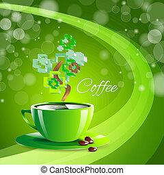 tazza caffè, beva bibita, sfondo verde