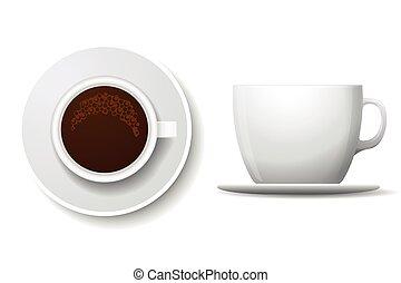 tazza caffè, cima, isolato, illustrazione, vettore, white., vista laterale
