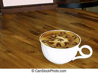 tazza caffè, cima, legno, tavola, vista