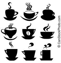 tazza caffè, collezione, icone