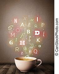 tazza caffè, con, colorito, lettere