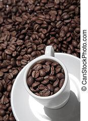 tazza caffè, e, fagioli