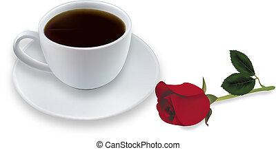 tazza caffè, e, rosso, rose., vector.