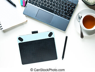 tazza caffè, flower., spazio ufficio, computer, sopra, tavola, copia, vista