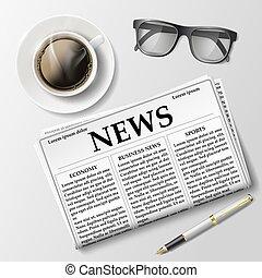 tazza caffè, giornale mattina, tavola., occhiali