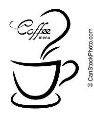 tazza caffè, illustrazione, fondo, nero, bianco