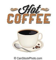tazza caffè, immagine, caldo, vettore, fondo, bianco