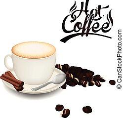 tazza caffè, immagine, fagiolo, caldo, vettore, fondo, bianco