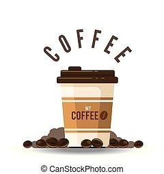 tazza caffè, immagine, fagiolo, vettore, fondo