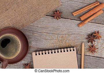 tazza caffè, legno, blocco note, vuoto, tavola, spezie
