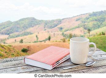 tazza caffè, legno, blurr, quaderno, fondo, tavola