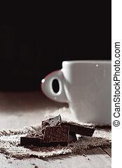 tazza caffè, legno, chocolat, sfondo nero, tavola