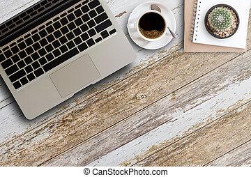 tazza caffè, legno, laptop, blocco note, computer, tavola