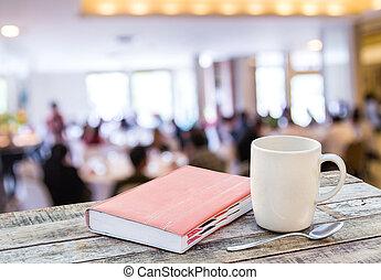 tazza caffè, legno, quaderno, fondo, offuscamento, tavola