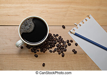 tazza caffè, legno, quaderno, fondo, vuoto