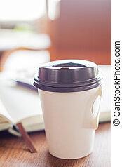 tazza caffè, legno, su, chiuso, tavola
