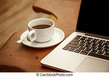 tazza caffè, nero, computer., tavola, bianco