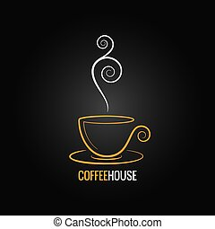 tazza caffè, ornare, disegno, fondo