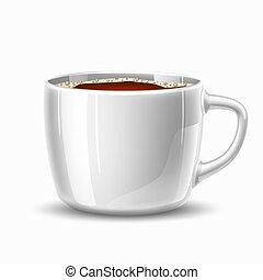 tazza caffè, realistico, vettore, tazza, vista laterale