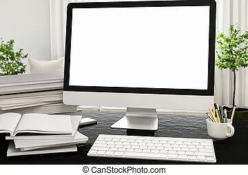 tazza caffè, render, work., su, workpark, schermo, computer, vuoto, fronte, casa, bianco, vista, libro, beffare, 3d