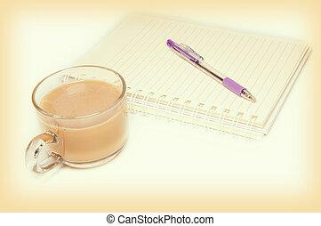 tazza caffè, scrivania, penna, quaderno, vuoto, bianco, aperto