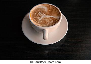 tazza caffè, sopra, nero, tabletop, fondo