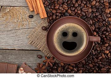 tazza caffè, struttura legno, cioccolato, tavola, spezie