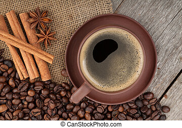 tazza caffè, struttura legno, tavola, spezie