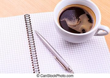 tazza caffè, taccuino, vuoto, tavola, aperto