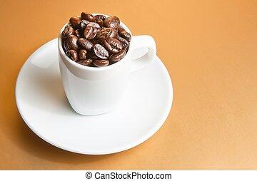 tazza caffè, testo, spazio, fagioli, bianco