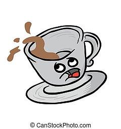 tazza, caffè, timoroso, fuoriuscita