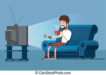 tazza caffè, tv, divano, osservare, vettore, illustrazione, uomo