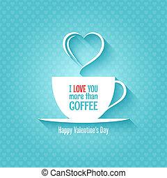 tazza caffè, valentines, disegno, fondo, giorno
