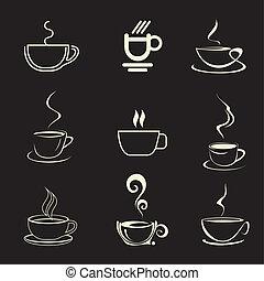 tazza, caffè, vettore, -, icona